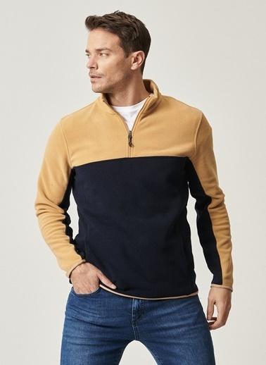 AC&Co / Altınyıldız Classics Slim Fit Günlük Rahat Çift Renkli Polar Spor Sweatshirt 4A5221100015 Kahve